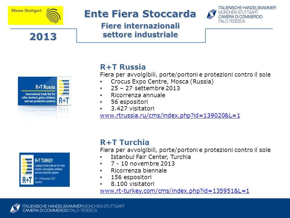 Ente Fiera Stoccarda Fiere internazionali settore industriale 2013 R+T Russia Fiera per avvolgibili, porte/portoni e protezioni contro il sole Crocus