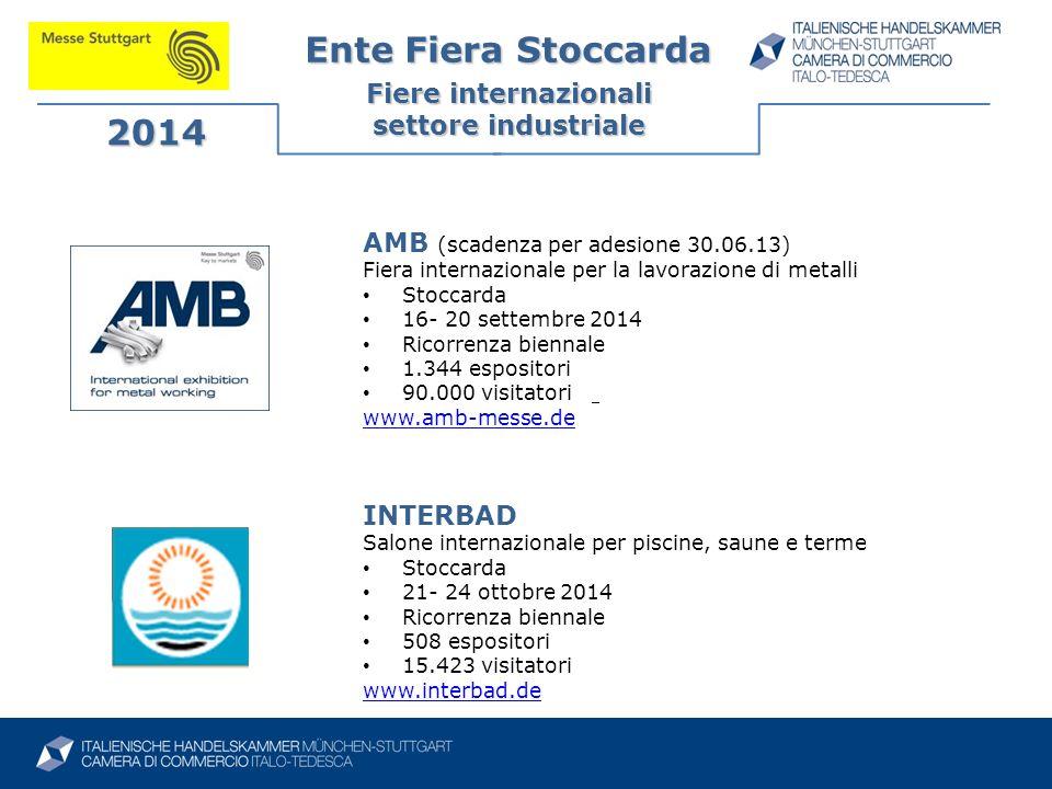 Ente Fiera Stoccarda Fiere internazionali settore industriale 2014 INTERBAD Salone internazionale per piscine, saune e terme Stoccarda 21- 24 ottobre