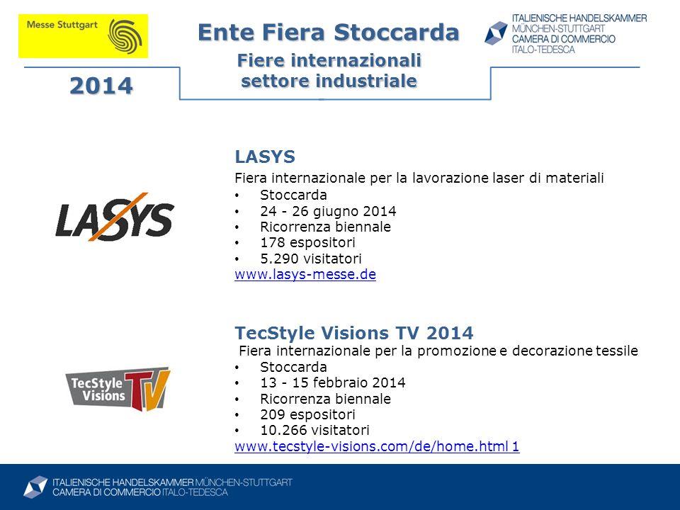 Ente Fiera Stoccarda Fiere internazionali settore industriale 2014 TecStyle Visions TV 2014 Fiera internazionale per la promozione e decorazione tessi