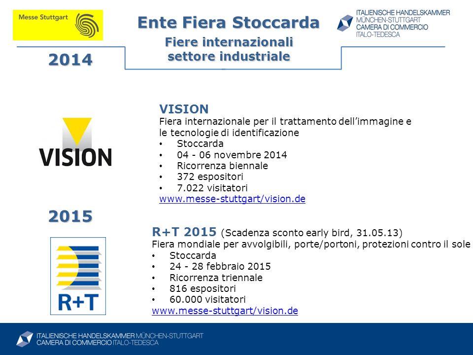 Ente Fiera Stoccarda Fiere internazionali settore industriale 2014 2015 R+T 2015 (Scadenza sconto early bird, 31.05.13) Fiera mondiale per avvolgibili