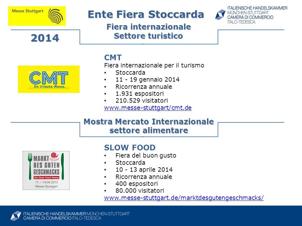 Ente Fiera Stoccarda Fiera internazionale Settore turistico 2014 Mostra Mercato Internazionale settore alimentare SLOW FOOD Fiera del buon gusto Stocc