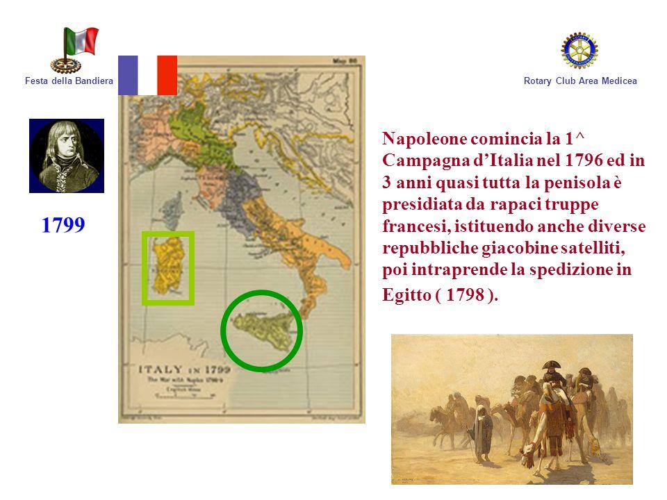 Rotary Club Area MediceaFesta della Bandiera Napoleone comincia la 1^ Campagna dItalia nel 1796 ed in 3 anni quasi tutta la penisola è presidiata da r