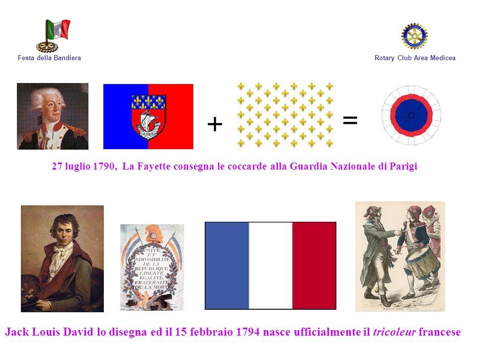 Rotary Club Area MediceaFesta della Bandiera 27 luglio 1790, La Fayette consegna le coccarde alla Guardia Nazionale di Parigi + = Jack Louis David lo