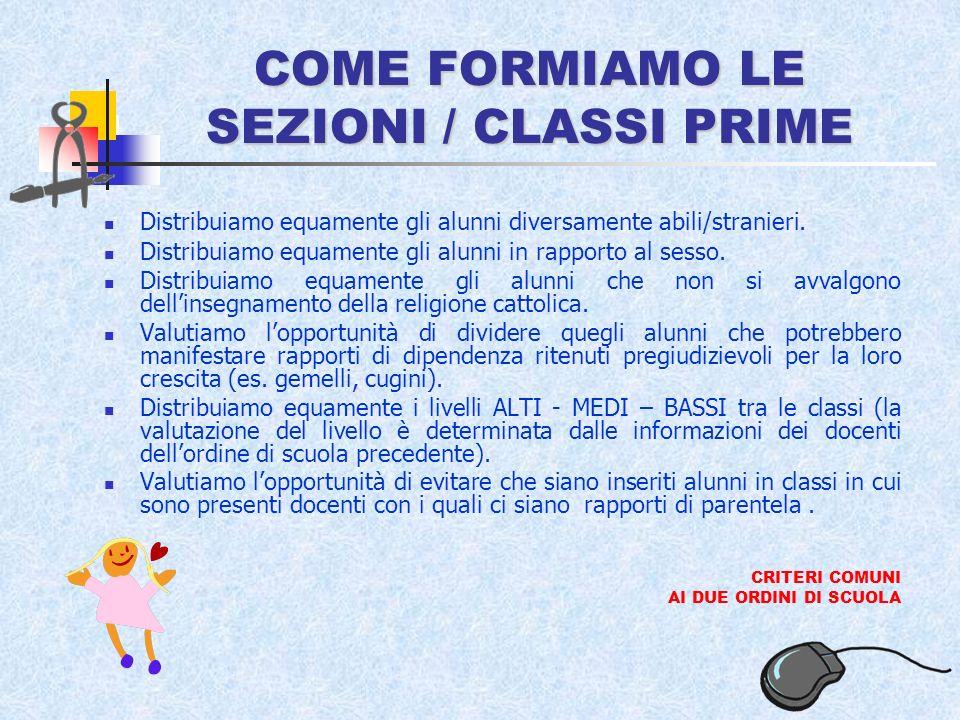 COME FORMIAMO LE SEZIONI / CLASSI PRIME Distribuiamo equamente gli alunni diversamente abili/stranieri.