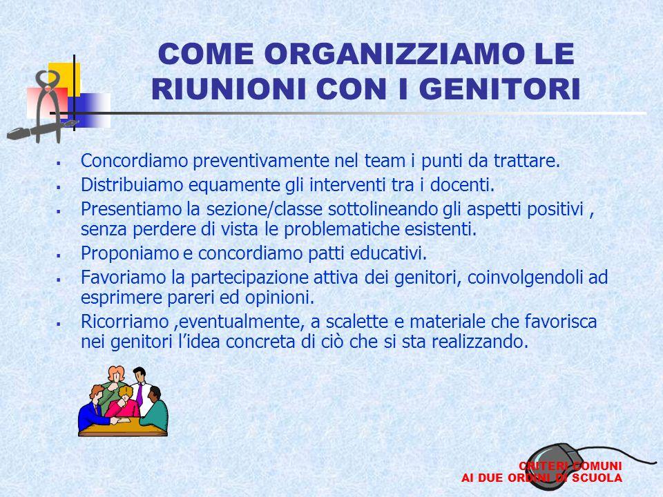 COME ORGANIZZIAMO LE RIUNIONI CON I GENITORI Concordiamo preventivamente nel team i punti da trattare.