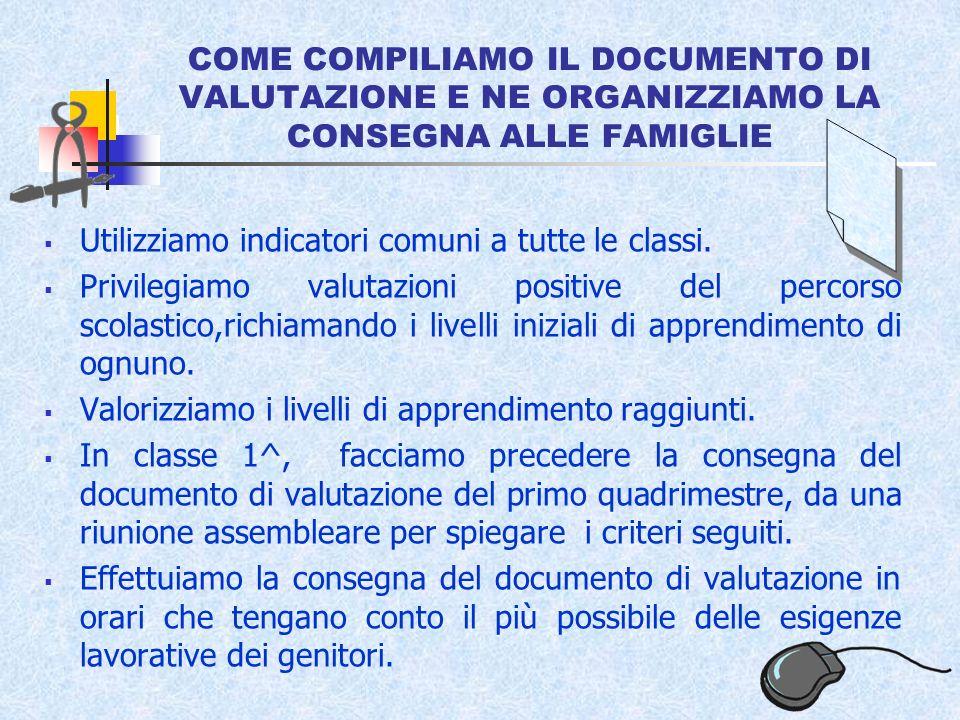 COME COMPILIAMO IL DOCUMENTO DI VALUTAZIONE E NE ORGANIZZIAMO LA CONSEGNA ALLE FAMIGLIE Utilizziamo indicatori comuni a tutte le classi.
