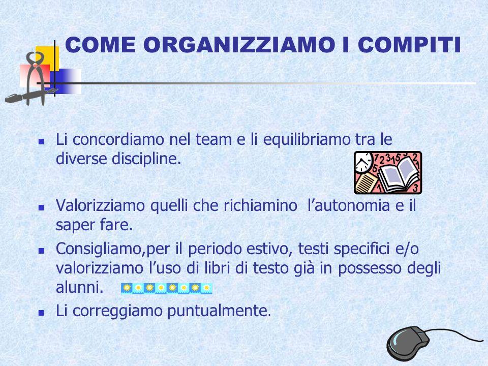 COME ORGANIZZIAMO I COMPITI Li concordiamo nel team e li equilibriamo tra le diverse discipline.