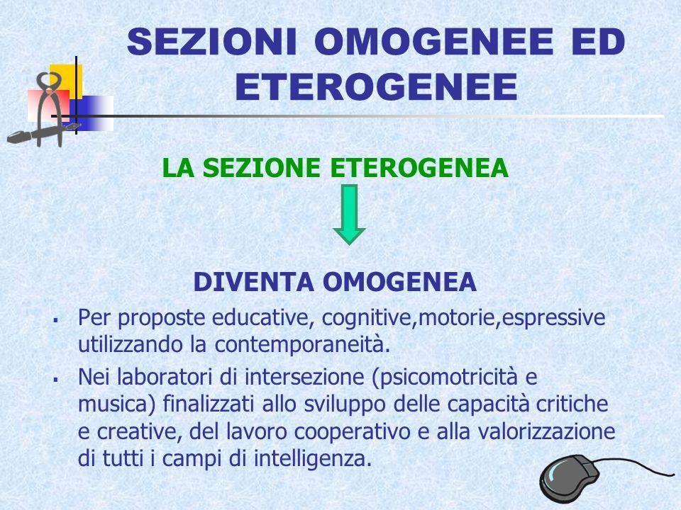 SEZIONI OMOGENEE ED ETEROGENEE LA SEZIONE ETEROGENEA DIVENTA OMOGENEA Per proposte educative, cognitive,motorie,espressive utilizzando la contemporaneità.