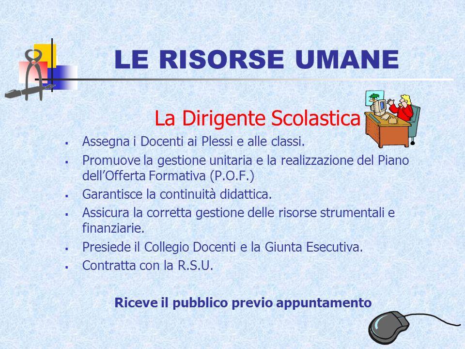 LE RISORSE UMANE La Dirigente Scolastica Assegna i Docenti ai Plessi e alle classi.