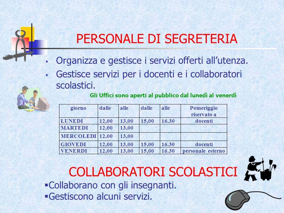 PERSONALE DI SEGRETERIA Organizza e gestisce i servizi offerti allutenza.