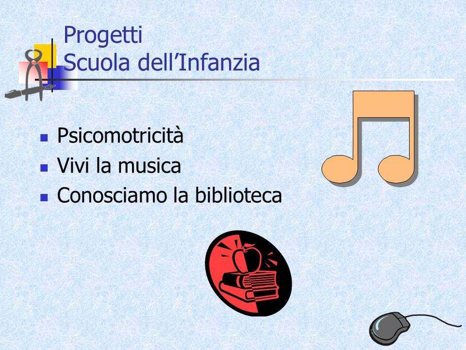 Progetti Scuola dellInfanzia Psicomotricità Vivi la musica Conosciamo la biblioteca