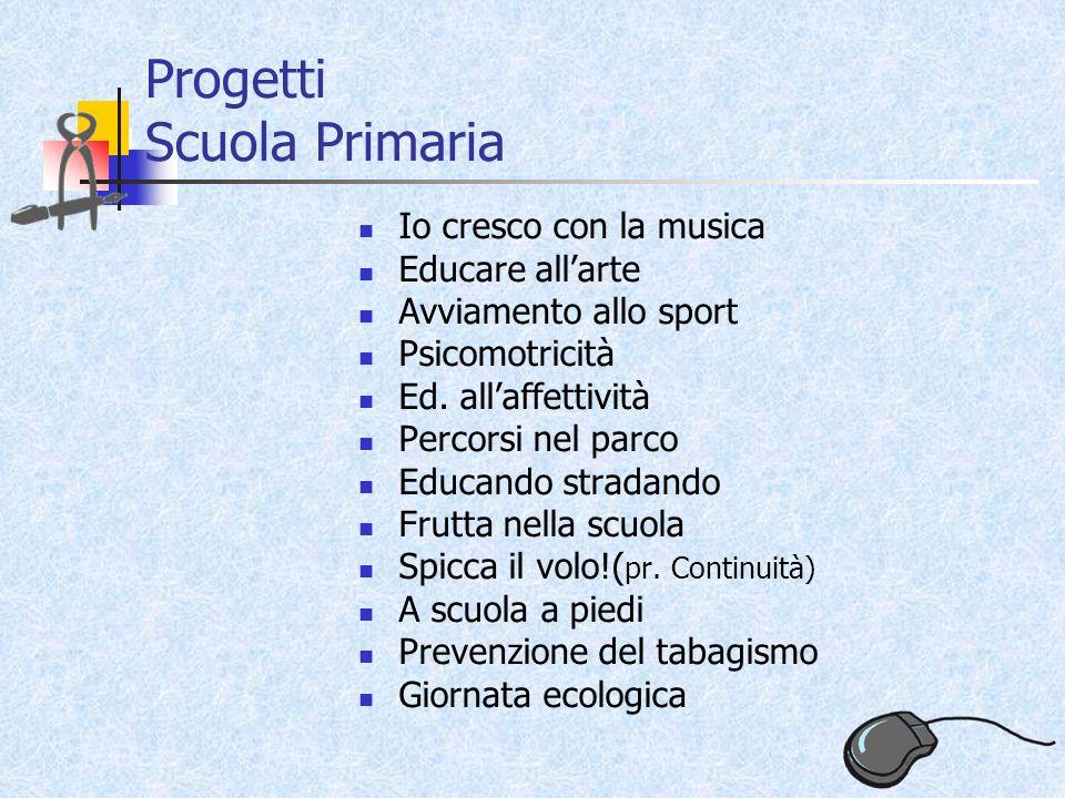 Progetti Scuola Primaria Io cresco con la musica Educare allarte Avviamento allo sport Psicomotricità Ed.