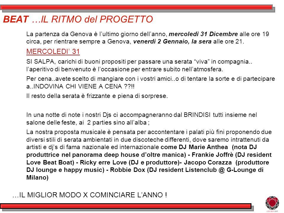 BEAT …IL RITMO del PROGETTO La partenza da Genova è lultimo giorno dellanno, mercoledì 31 Dicembre alle ore 19 circa, per rientrare sempre a Genova, venerdi 2 Gennaio, la sera alle ore 21.