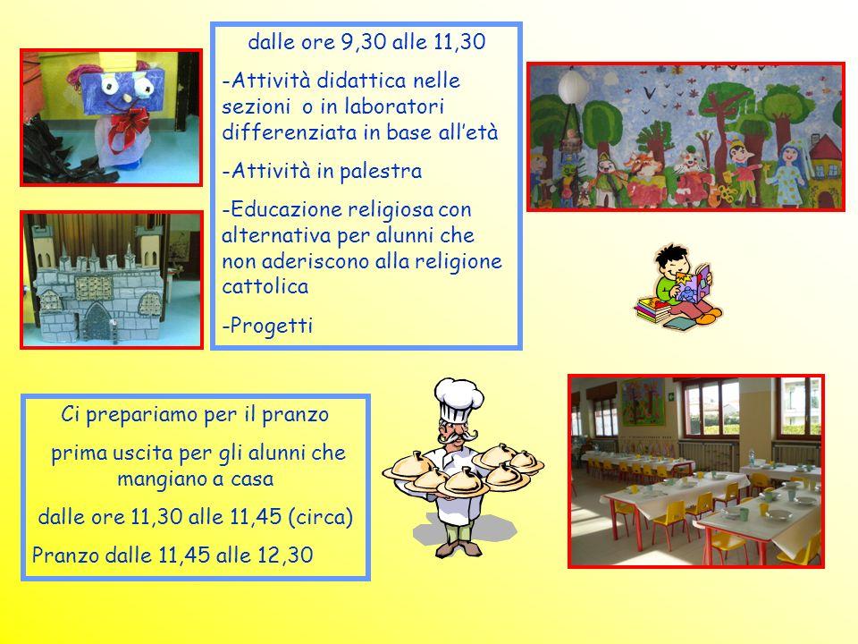 Ci prepariamo per il pranzo prima uscita per gli alunni che mangiano a casa dalle ore 11,30 alle 11,45 (circa) Pranzo dalle 11,45 alle 12,30 dalle ore