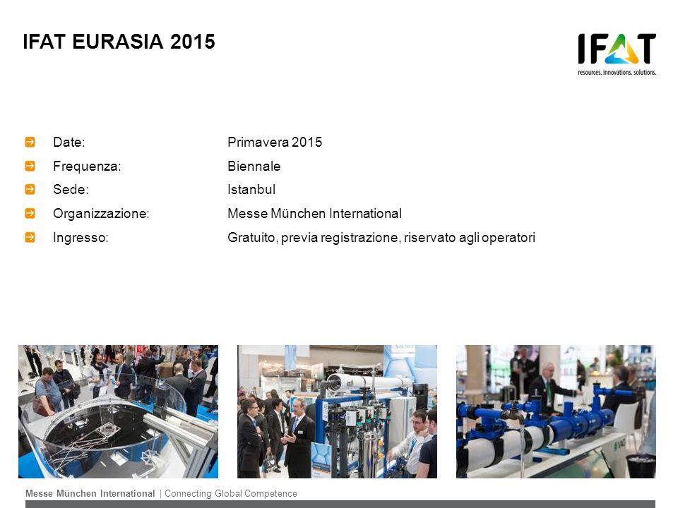 IFAT EURASIA 2015 Date: Primavera 2015 Frequenza: Biennale Sede:Istanbul Organizzazione:Messe München International Ingresso:Gratuito, previa registra
