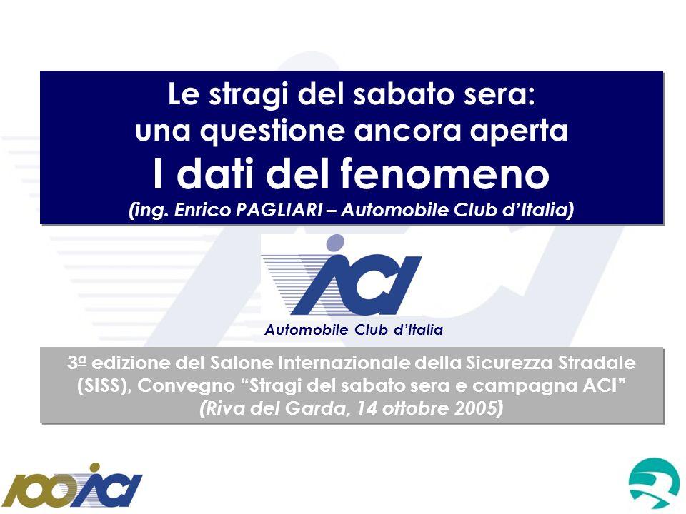 Le stragi del sabato sera: una questione ancora aperta I dati del fenomeno (ing. Enrico PAGLIARI – Automobile Club dItalia) Le stragi del sabato sera: