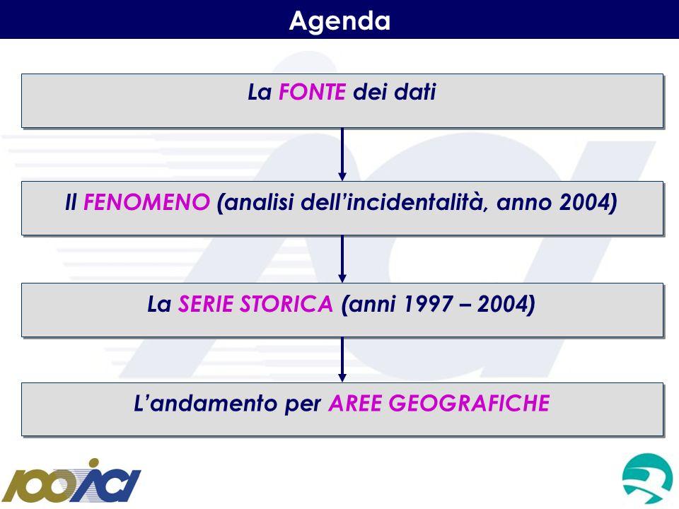 Agenda La FONTE dei dati Il FENOMENO (analisi dellincidentalità, anno 2004) La SERIE STORICA (anni 1997 – 2004) Landamento per AREE GEOGRAFICHE