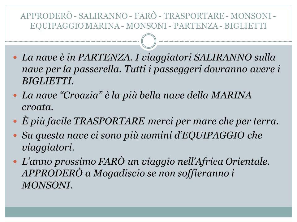APPRODERÒ - SALIRANNO - FARÒ - TRASPORTARE - MONSONI - EQUIPAGGIO MARINA - MONSONI - PARTENZA - BIGLIETTI La nave è in PARTENZA.