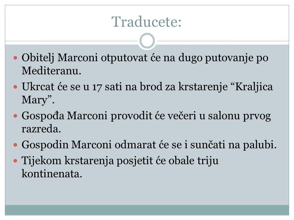 Traducete: Obitelj Marconi otputovat će na dugo putovanje po Mediteranu.