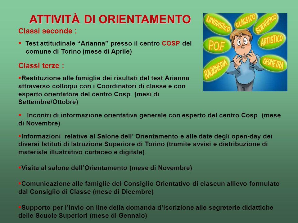 ATTIVITÀ DI ORIENTAMENTO Incontri di informazione orientativa generale con esperto del centro Cosp (mese di Novembre) Informazioni relative al Salone