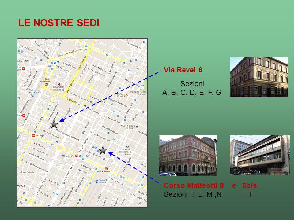 Sezioni A, B, C, D, E, F, G Corso Matteotti 9 e 6bis Sezioni I, L, M,N H Via Revel 8 LE NOSTRE SEDI