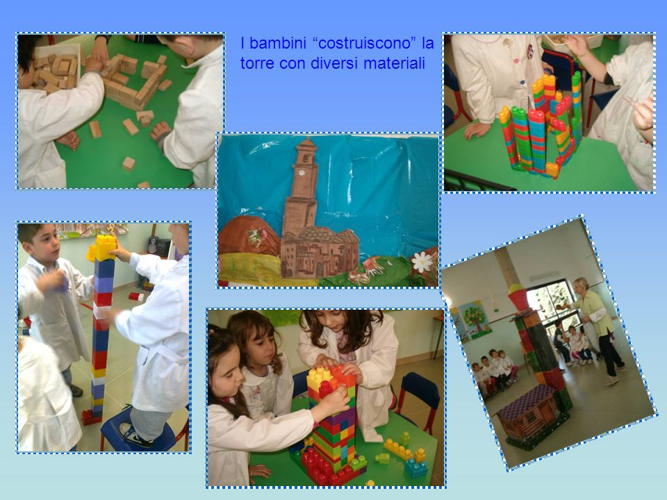 I bambini costruiscono la torre con diversi materiali