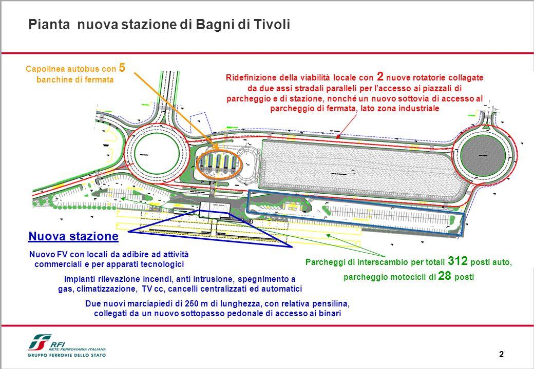 2 Nuova stazione Pianta nuova stazione di Bagni di Tivoli Nuovo FV con locali da adibire ad attività commerciali e per apparati tecnologici Impianti r