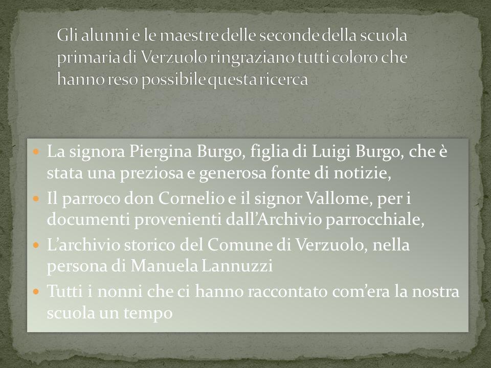 La signora Piergina Burgo, figlia di Luigi Burgo, che è stata una preziosa e generosa fonte di notizie, Il parroco don Cornelio e il signor Vallome, p
