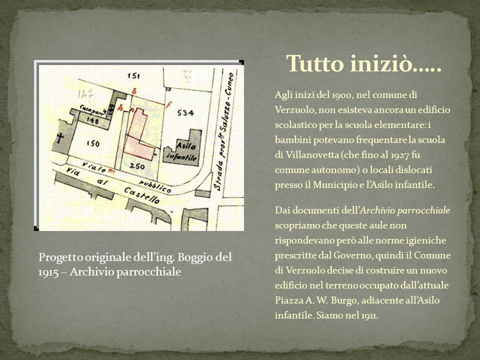 Agli inizi del 1900, nel comune di Verzuolo, non esisteva ancora un edificio scolastico per la scuola elementare: i bambini potevano frequentare la sc