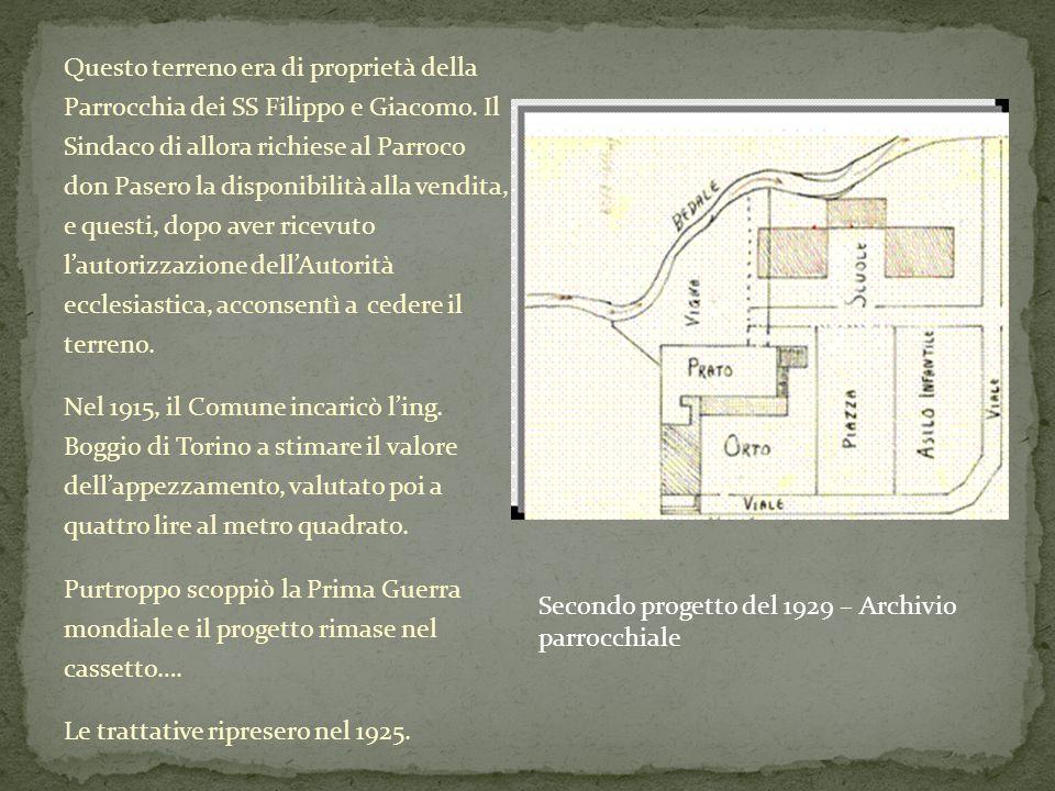 Questo terreno era di proprietà della Parrocchia dei SS Filippo e Giacomo. Il Sindaco di allora richiese al Parroco don Pasero la disponibilità alla v
