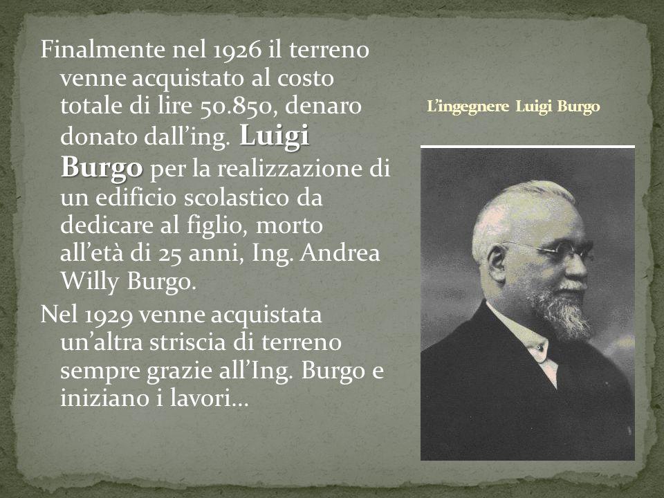 Luigi Burgo Finalmente nel 1926 il terreno venne acquistato al costo totale di lire 50.850, denaro donato dalling. Luigi Burgo per la realizzazione di