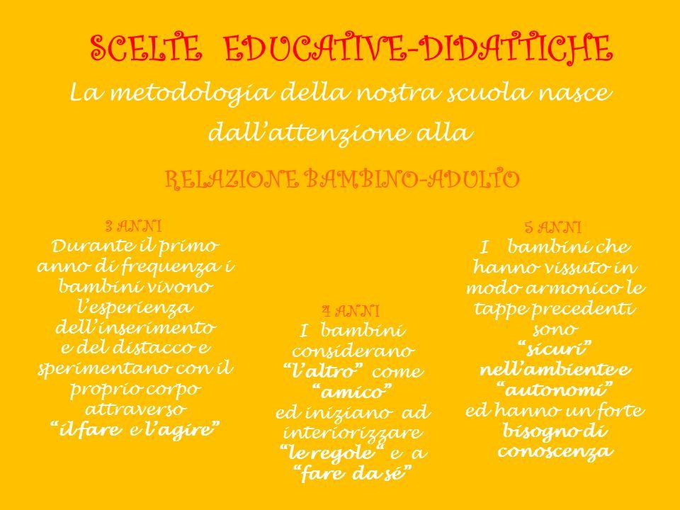 SCELTE EDUCATIVE-DIDATTICHE La metodologia della nostra scuola nasce dallattenzione alla RELAZIONE BAMBINO-ADULTO 3 ANNI Durante il primo anno di freq