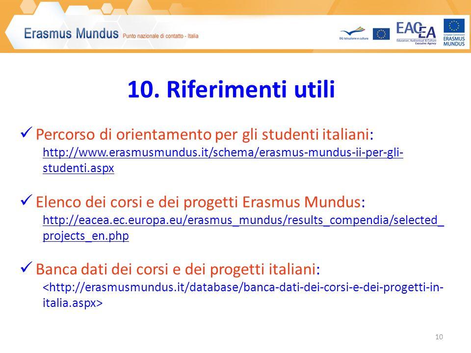 10. Riferimenti utili Percorso di orientamento per gli studenti italiani: http://www.erasmusmundus.it/schema/erasmus-mundus-ii-per-gli- studenti.aspx
