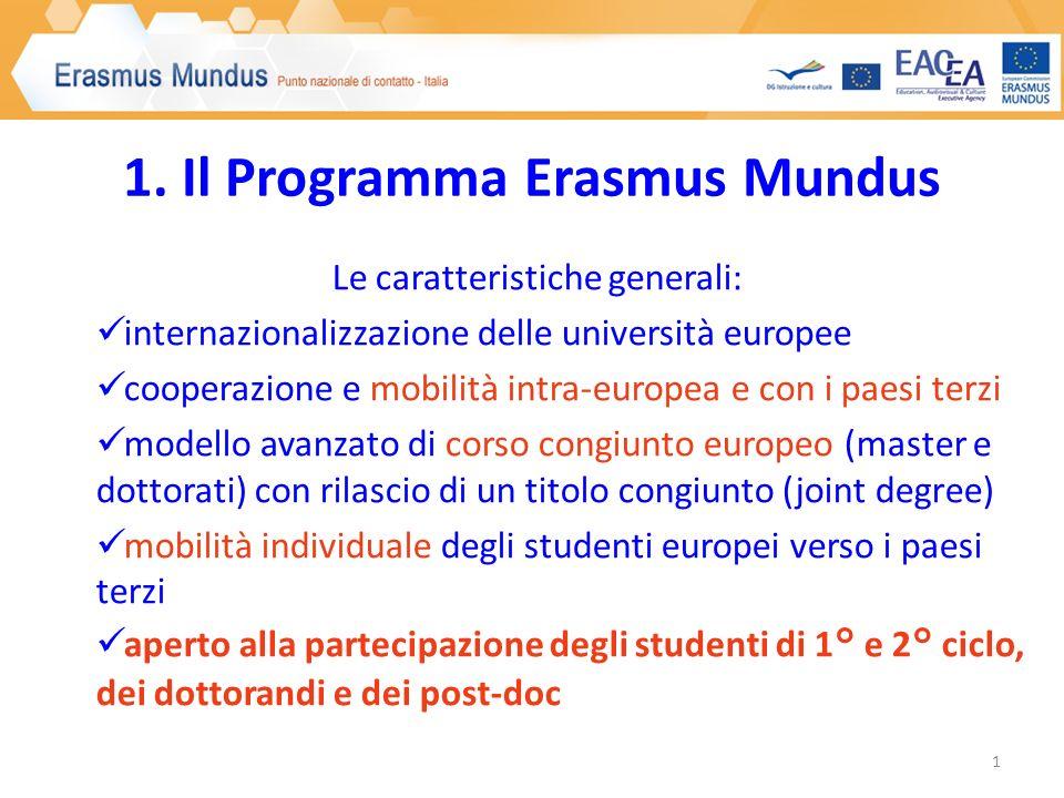 1. Il Programma Erasmus Mundus Le caratteristiche generali: internazionalizzazione delle università europee cooperazione e mobilità intra-europea e co