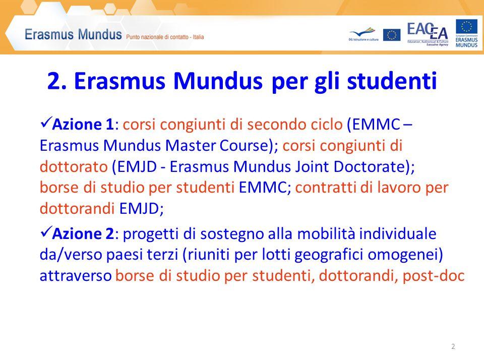 2. Erasmus Mundus per gli studenti Azione 1: corsi congiunti di secondo ciclo (EMMC – Erasmus Mundus Master Course); corsi congiunti di dottorato (EMJ