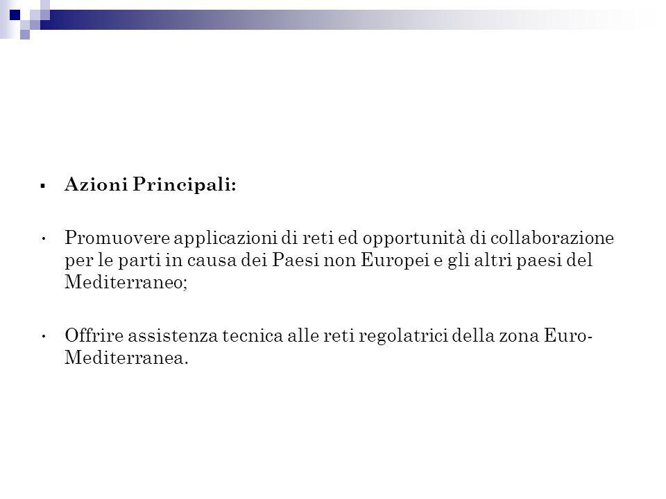 Azioni Principali: Promuovere applicazioni di reti ed opportunità di collaborazione per le parti in causa dei Paesi non Europei e gli altri paesi del Mediterraneo; Offrire assistenza tecnica alle reti regolatrici della zona Euro- Mediterranea.