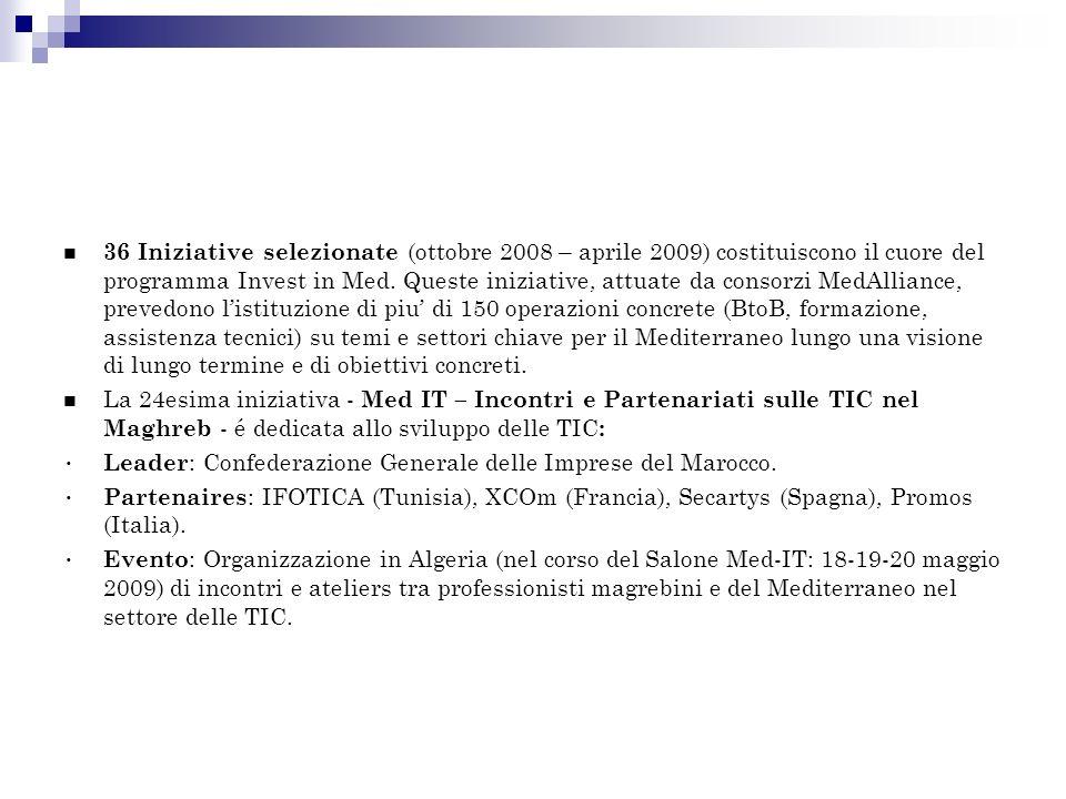 36 Iniziative selezionate (ottobre 2008 – aprile 2009) costituiscono il cuore del programma Invest in Med.