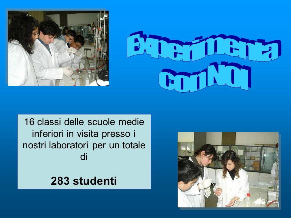 16 classi delle scuole medie inferiori in visita presso i nostri laboratori per un totale di 283 studenti