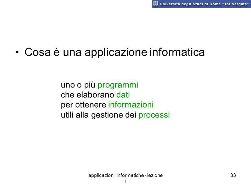 applicazioni informatiche - lezione 1 33 Cosa è una applicazione informatica uno o più programmi che elaborano dati per ottenere informazioni utili alla gestione dei processi