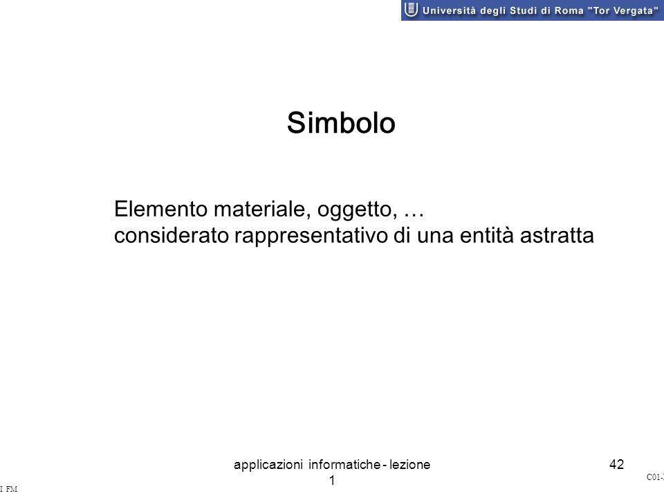 applicazioni informatiche - lezione 1 42 SI&I FM STILO C01-L42 Simbolo Elemento materiale, oggetto, … considerato rappresentativo di una entità astratta