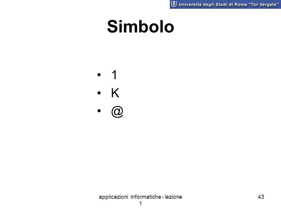 applicazioni informatiche - lezione 1 43 Simbolo 1 K @