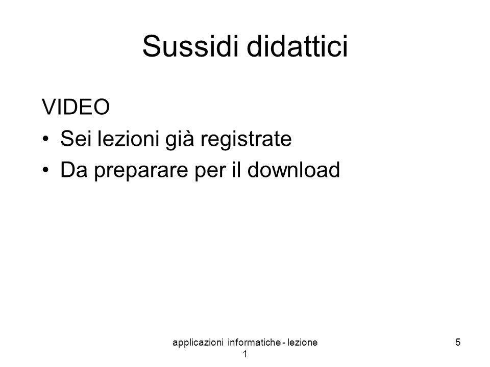 applicazioni informatiche - lezione 1 5 Sussidi didattici VIDEO Sei lezioni già registrate Da preparare per il download