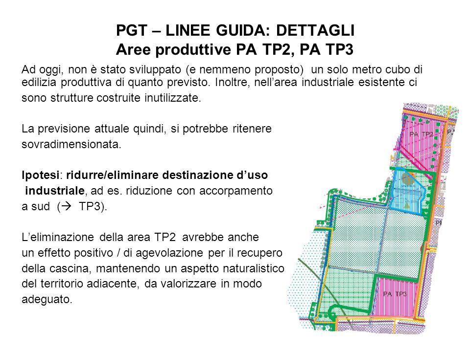 12 PGT – LINEE GUIDA: DETTAGLI Aree produttive PA TP2, PA TP3 Ad oggi, non è stato sviluppato (e nemmeno proposto) un solo metro cubo di edilizia produttiva di quanto previsto.