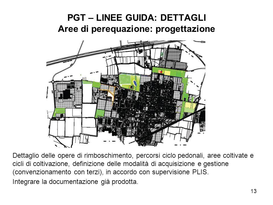 13 PGT – LINEE GUIDA: DETTAGLI Aree di perequazione: progettazione Dettaglio delle opere di rimboschimento, percorsi ciclo pedonali, aree coltivate e