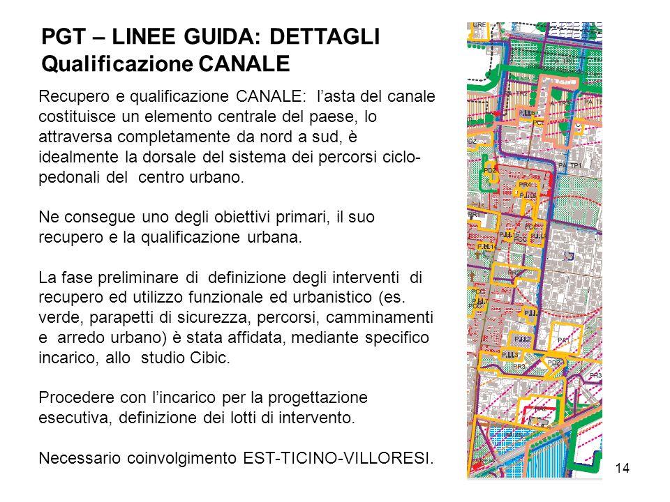 14 Recupero e qualificazione CANALE: lasta del canale costituisce un elemento centrale del paese, lo attraversa completamente da nord a sud, è idealmente la dorsale del sistema dei percorsi ciclo- pedonali del centro urbano.