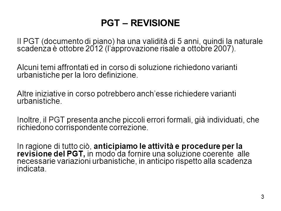 3 PGT – REVISIONE Il PGT (documento di piano) ha una validità di 5 anni, quindi la naturale scadenza è ottobre 2012 (lapprovazione risale a ottobre 2007).