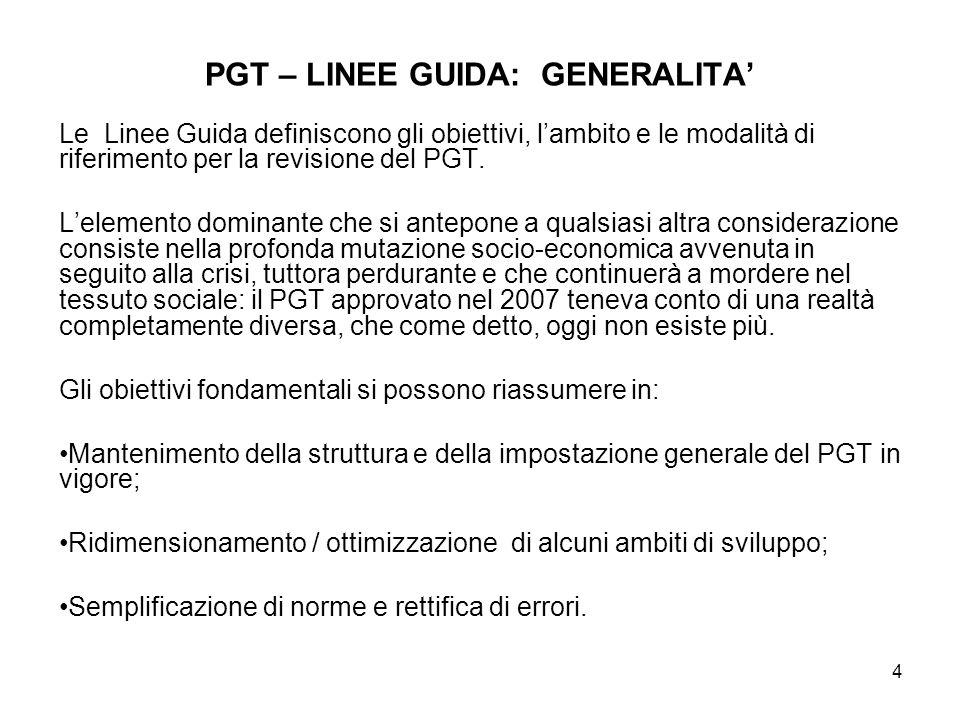 4 PGT – LINEE GUIDA: GENERALITA Le Linee Guida definiscono gli obiettivi, lambito e le modalità di riferimento per la revisione del PGT. Lelemento dom