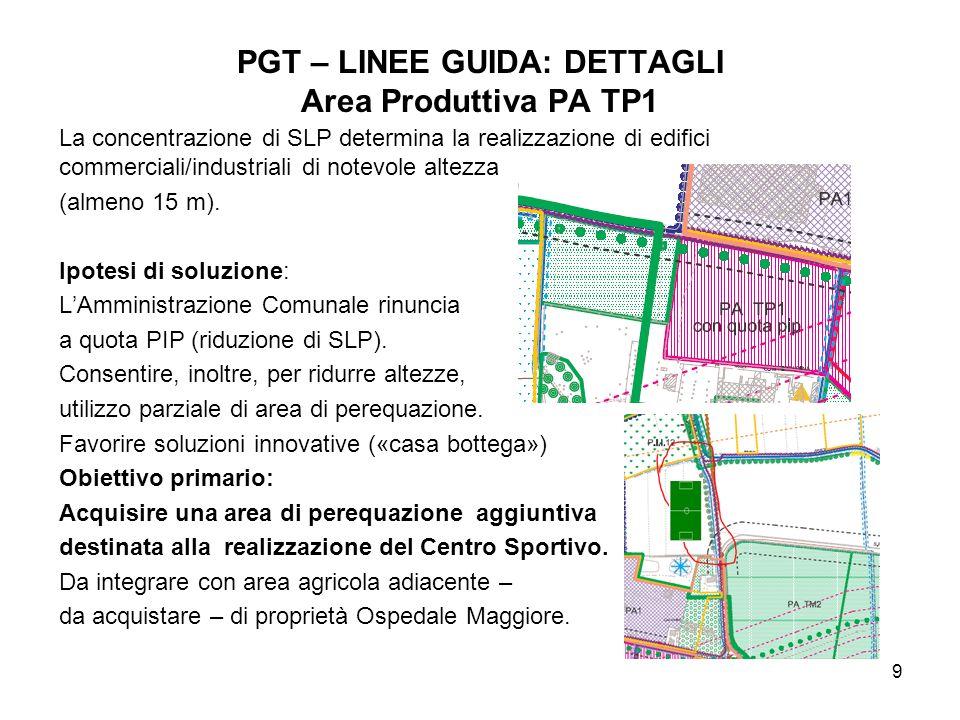 9 PGT – LINEE GUIDA: DETTAGLI Area Produttiva PA TP1 La concentrazione di SLP determina la realizzazione di edifici commerciali/industriali di notevole altezza (almeno 15 m).