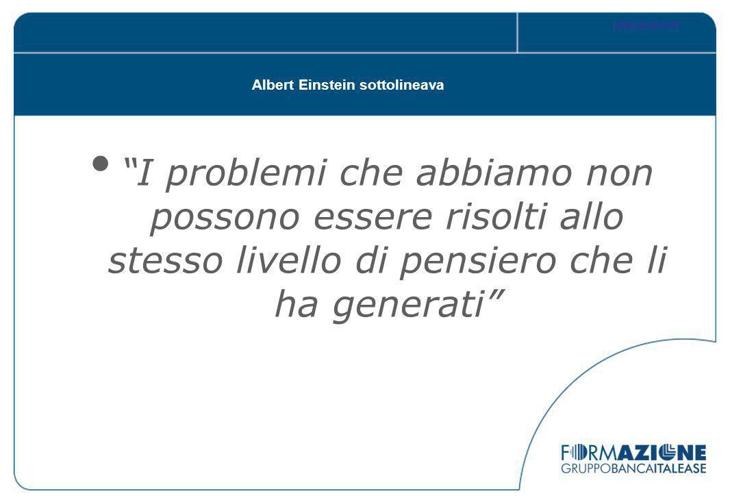 Albert Einstein sottolineava I problemi che abbiamo non possono essere risolti allo stesso livello di pensiero che li ha generati Introduzione