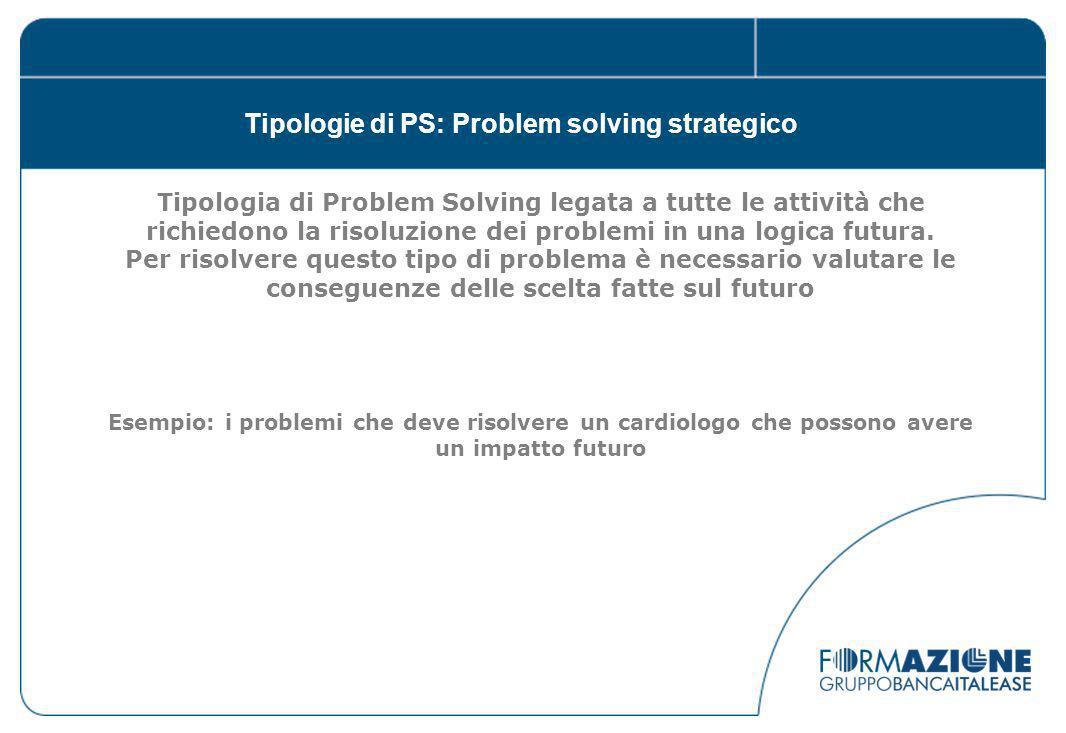 Tipologie di PS: Problem solving strategico Tipologia di Problem Solving legata a tutte le attività che richiedono la risoluzione dei problemi in una logica futura.